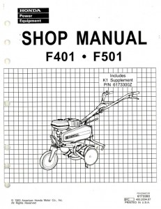 Honda F401 F501 Tiller Shop Manual
