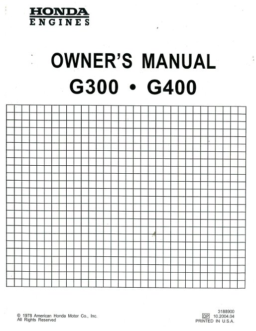Honda G300 G400 Manual Start Engine Owners Manual