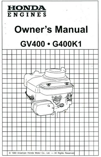 Honda GV200 Engine Owners Manual