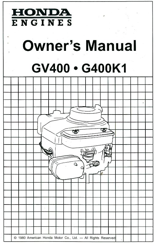 Honda GV400 G400K1 Engine Owners Manual