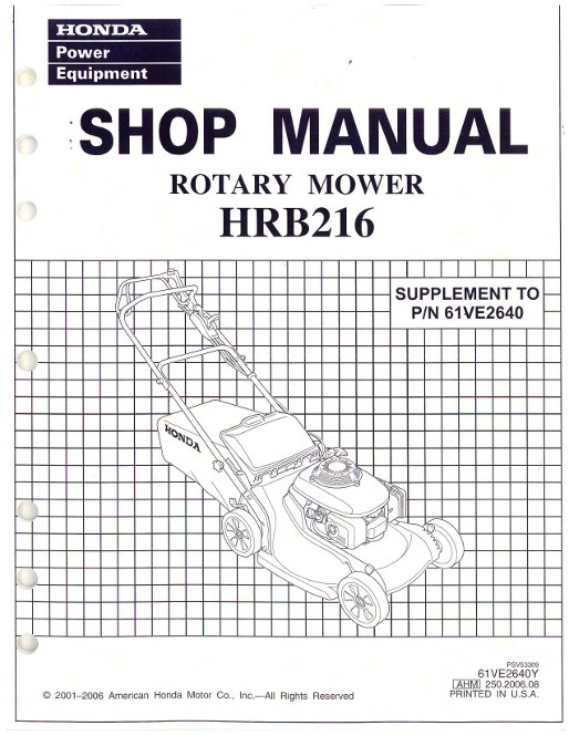 Honda HRB216 Lawn Mower Shop Manual