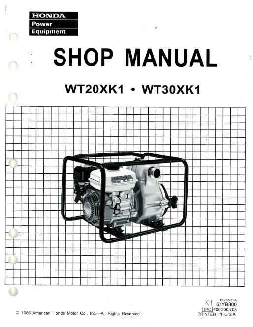 Honda WT20XK1 30XK1 Water Pump Shop Manual