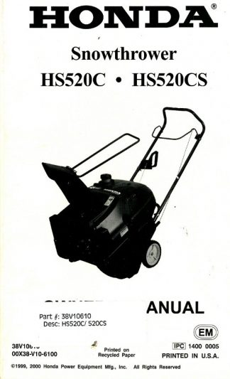 Honda HS622 Snowblower Owners Manual
