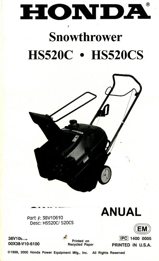 Honda X-Can HS520C 520CS Snowthrower Owners Manual