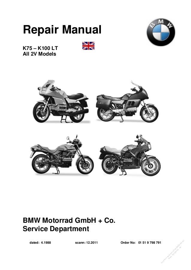 BMW K100 (2-Valve) and K75 Models 1983