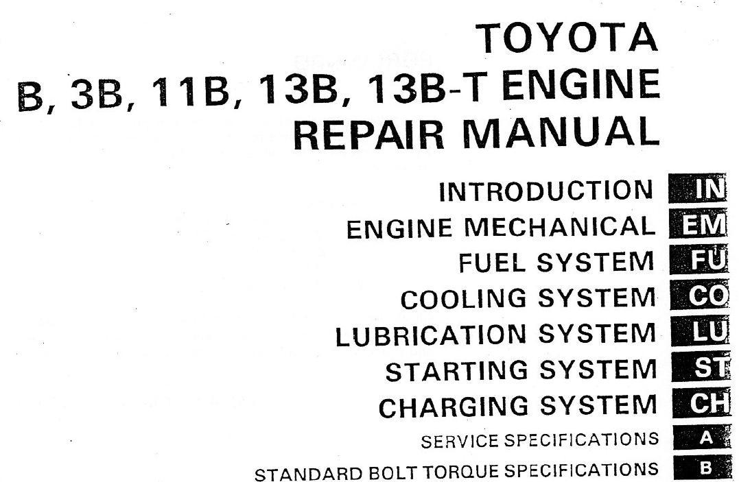 Toyota 3B B 11B 13B engine factory workshop and repair