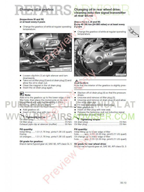 BMW R 850 C, R 1200 C Motorcycle Repair Manual PDF Download