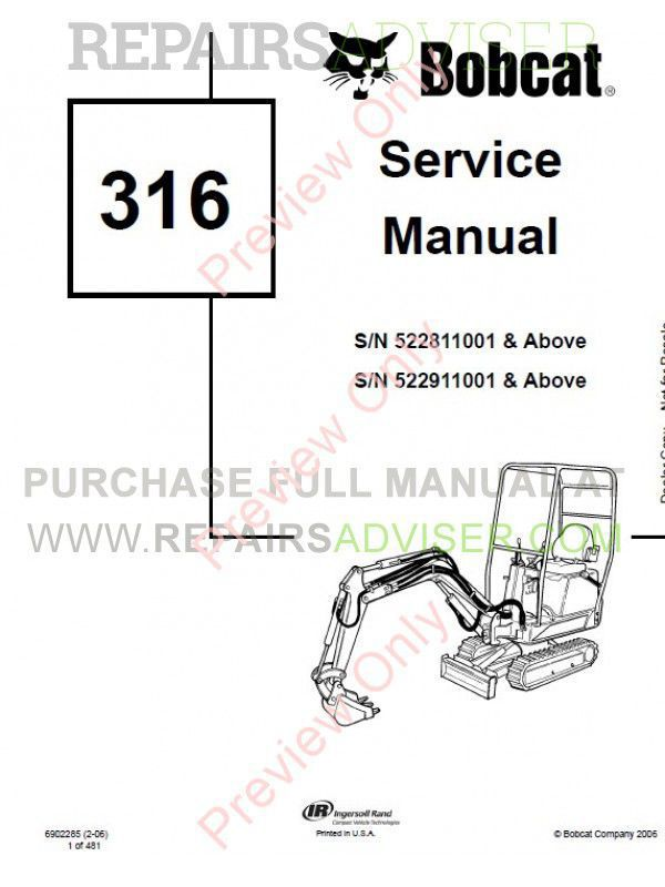 Bobcat 316 Hydraulic Excavator Service Manual PDF Download