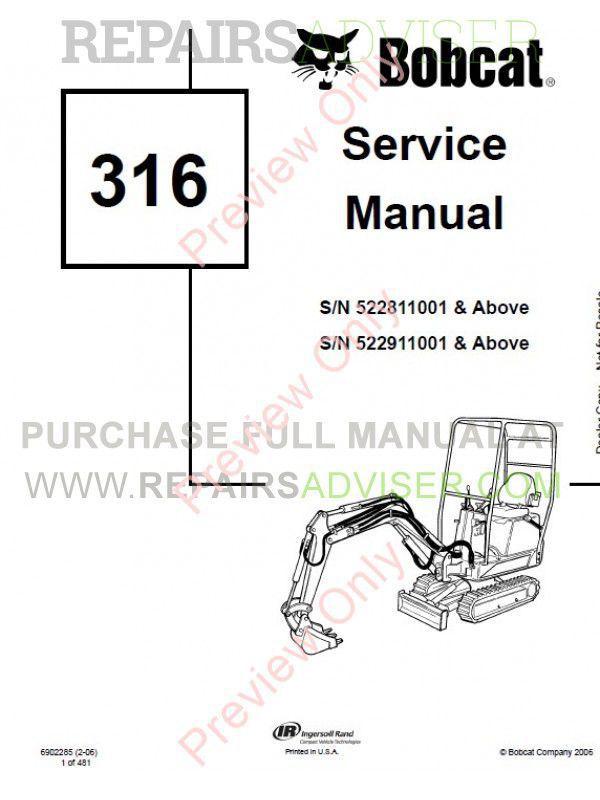 Bobcat 316 Hydraulic Excavator Service Manual PDF Download