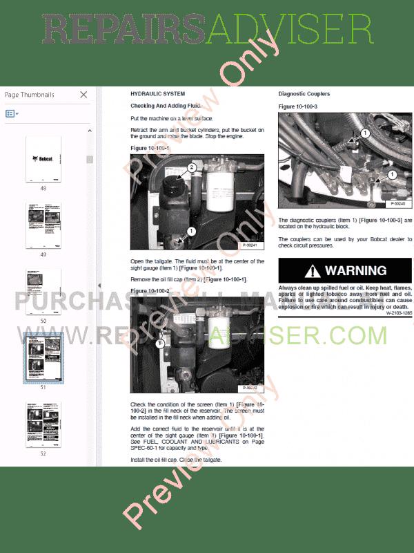 Bobcat 320, 320L, 322 (D Series) Excavator Service Manual