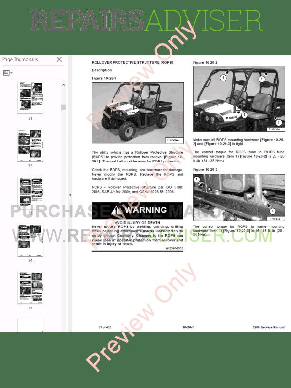 Bobcat 3200 Utility Vehicle Service Manual PDF Download