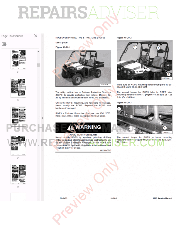 Bobcat 3200 Utility Vehicle Service Manual PDF Download