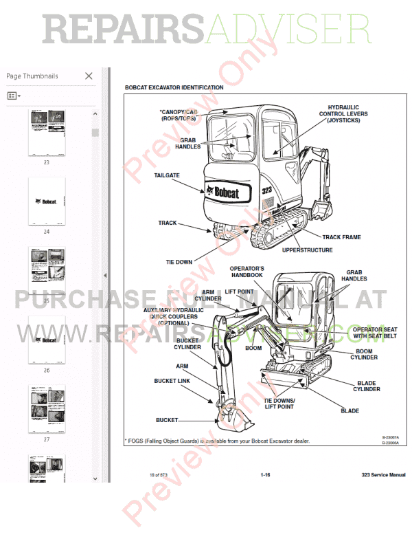 Bobcat 323 Excavator Service Manual PDF Download