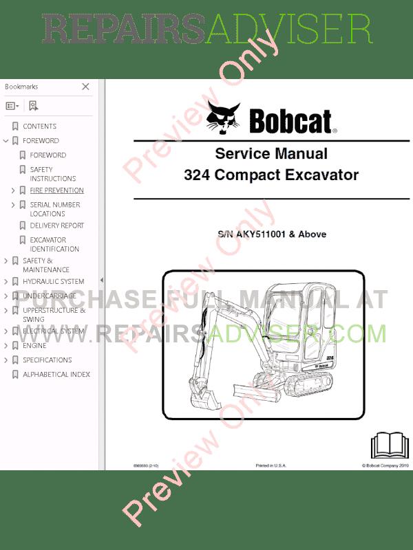Bobcat 324 Compact Excavator Service Manual PDF Download