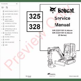 Bobcat 325, 328 Excavator G-Series Service Manual PDF Download