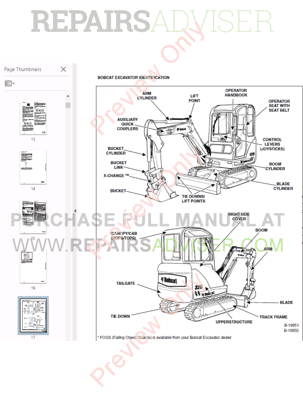 Bobcat 325, 328 Excavator G-Series Service Manual PDF Download