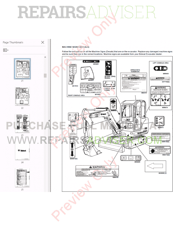 Bobcat 331, 331E, 334 Compact Excavator Maintenance Manual