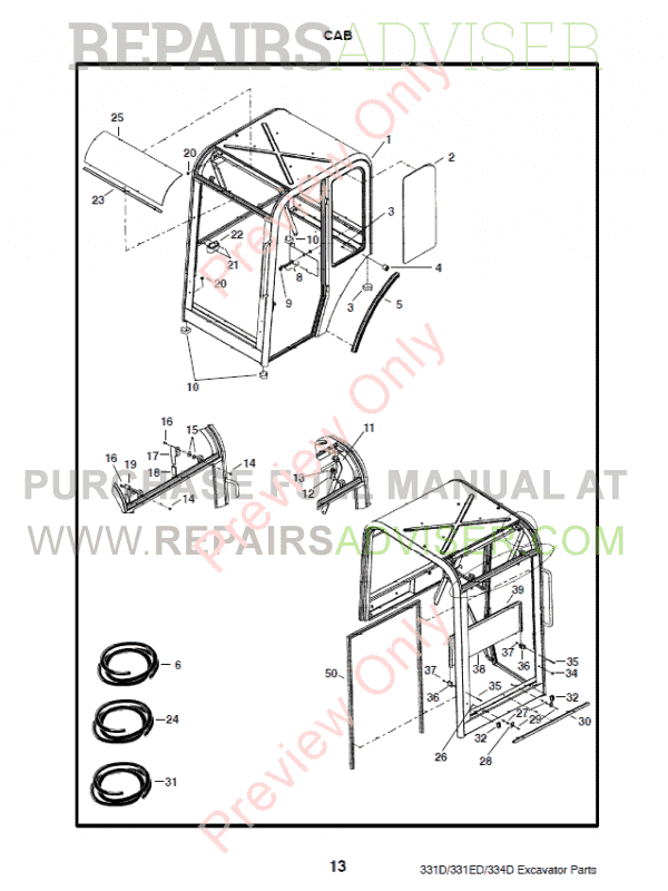 Bobcat 331, 331E, 334 (D-Series) Excavator Parts Manual