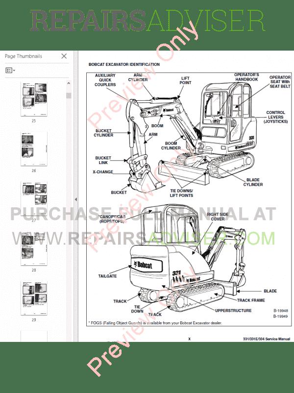 Bobcat 331, 331E, 334 Compact Excavators Service Manual