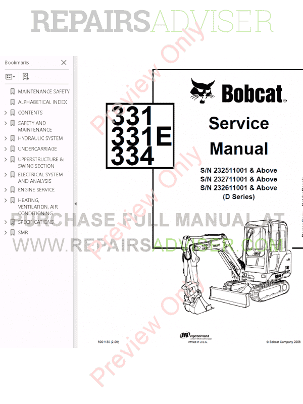Bobcat 331, 331E, 334 Excavators D-Series Service Manual