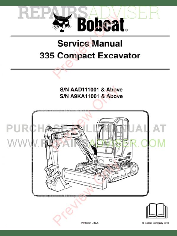 Bobcat Compact Excavator 335 Service Manual PDF Download