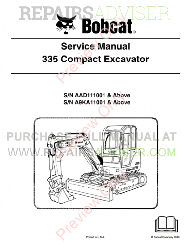 Bobcat Compact Excavator 335 Service Manual PDF Download