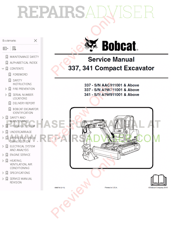 Bobcat 337, 341 Compact Excavator Service Manual PDF Download