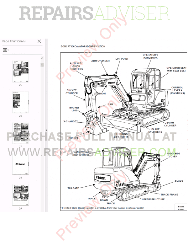 Bobcat 337, 341 Excavator Service Manual G-series PDF Download