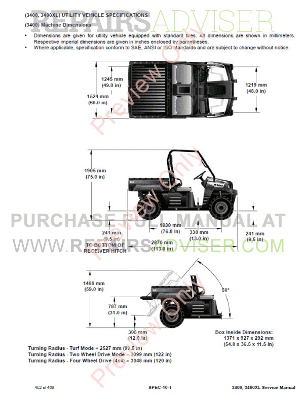 Bobcat 3400, 3400XL Utility Vehicle PDF Service Manual