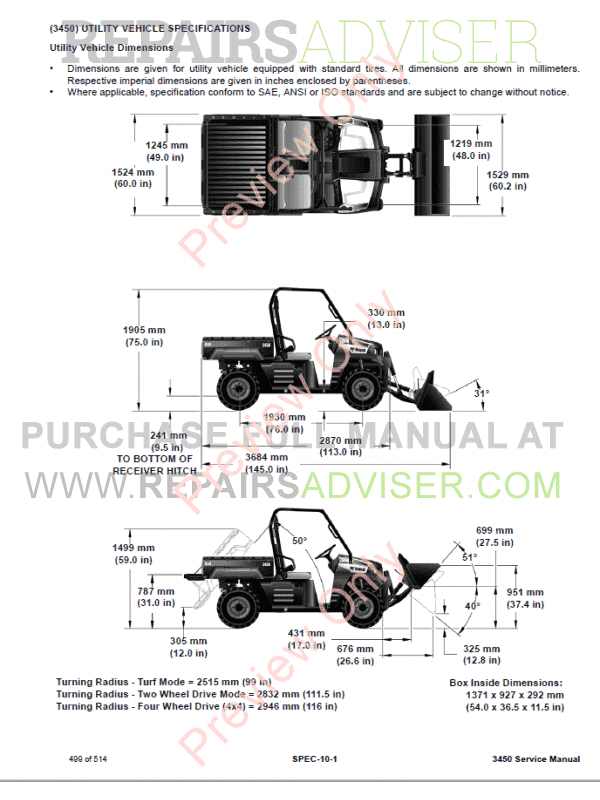 Bobcat Utility Vehicle 3450 Repair Manual PDF Download