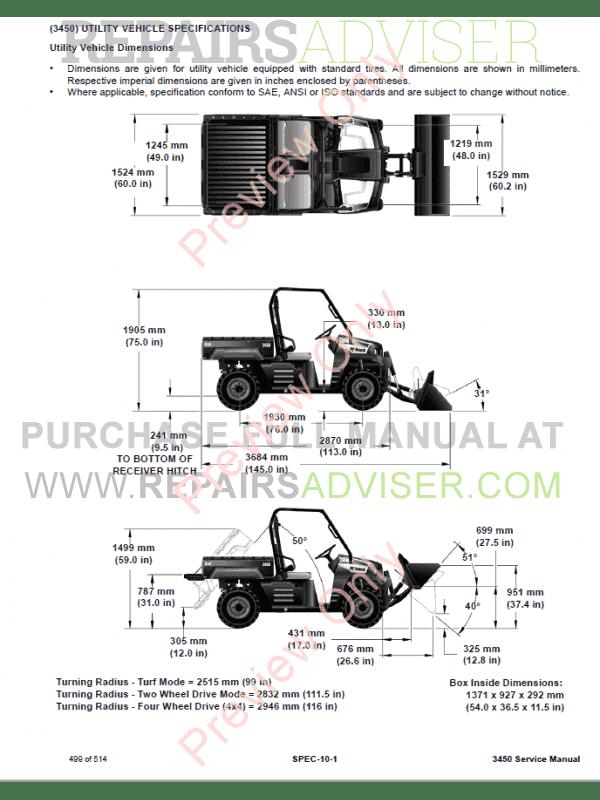 Bobcat Utility Vehicle 3450 Repair Manual PDF Download