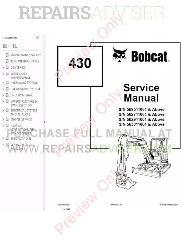 Bobcat 430 Compact Excavators Service Manual PDF Download