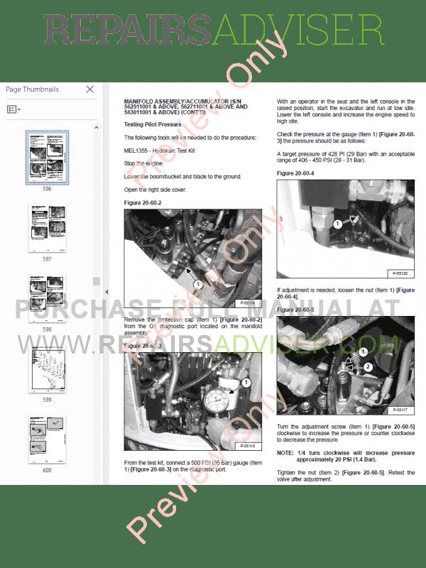 Bobcat 430 Compact Excavators Service Manual PDF Download