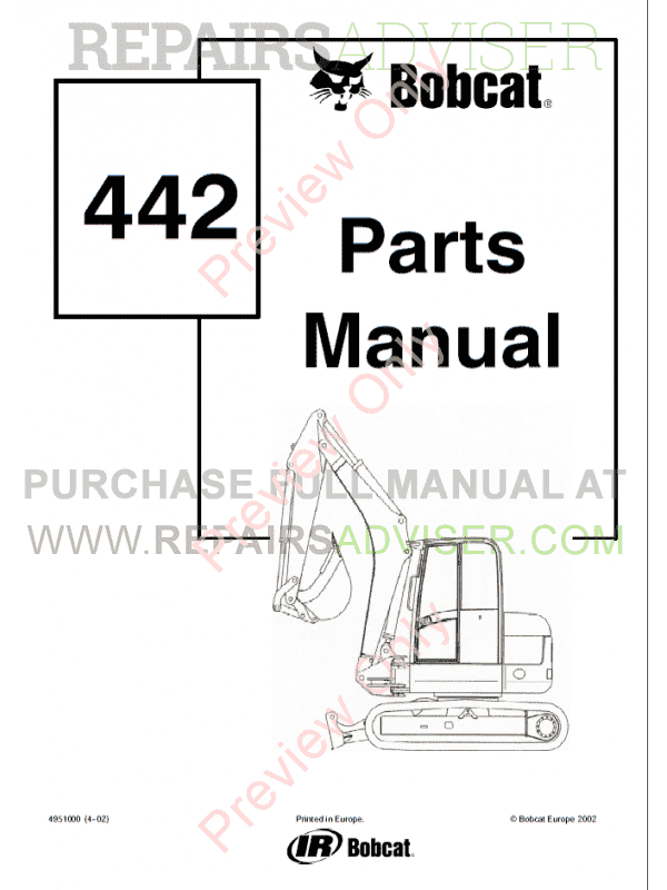 Bobcat 442 Compact Excavator Parts Manual PDF Download