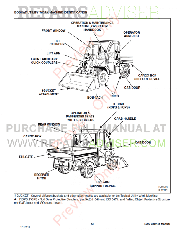 Bobcat 5600 Utility Work Machine Service Manual PDF Download