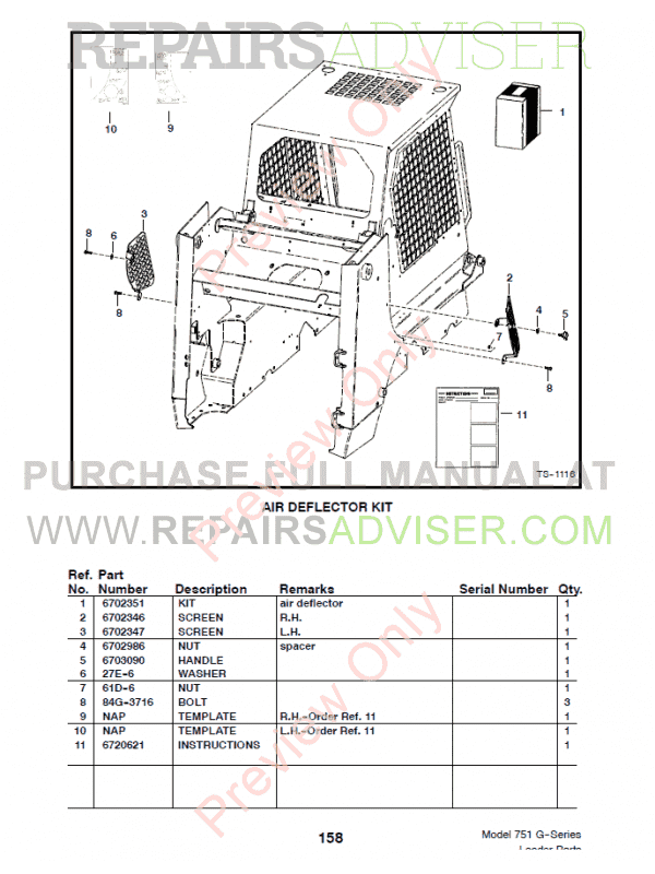 Bobcat 751 G-Series Skid Steer Loader Parts Manual PDF