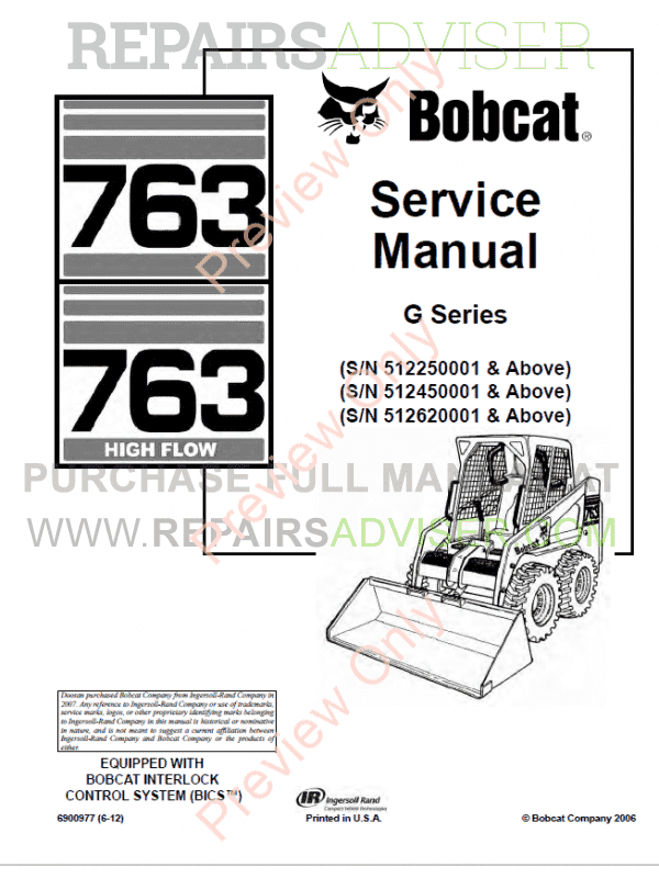843 Bobcat Wiring Diagram Download Bobcat 763 763 Hf Loaders Pdf Service Manual