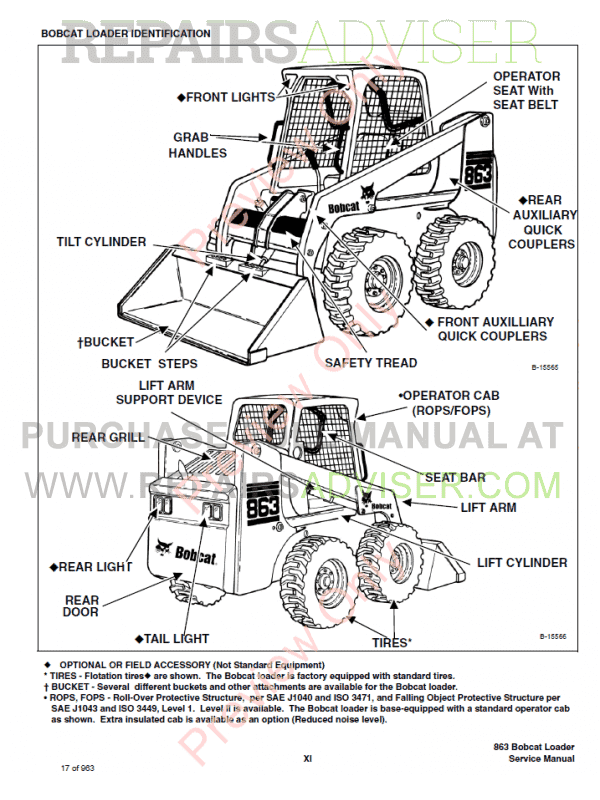 Bobcat 863 Turbo, 863 High Flow Turbo Loaders Service