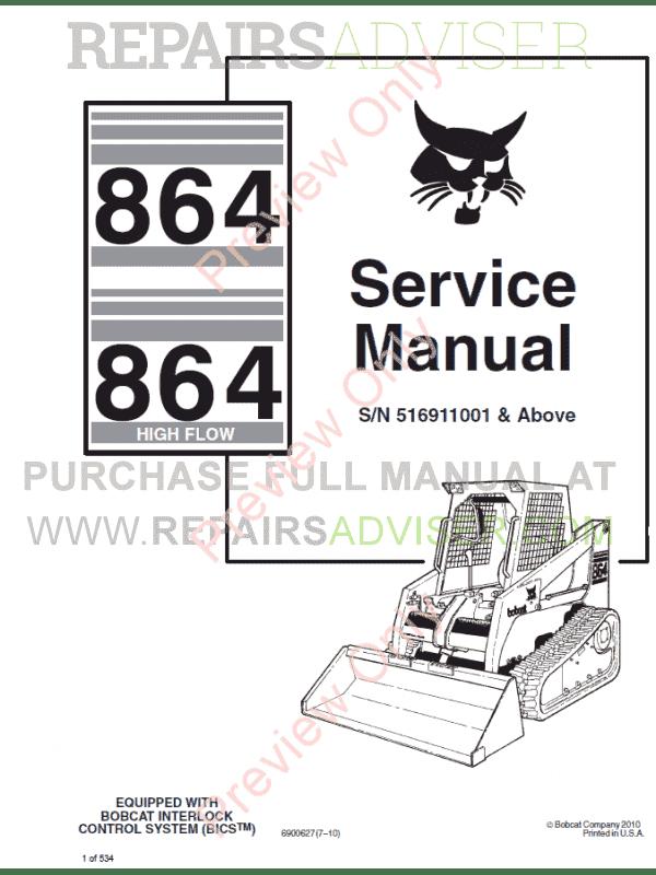 Bobcat 864, 864 High Flow Loader Service Manual PDF Download