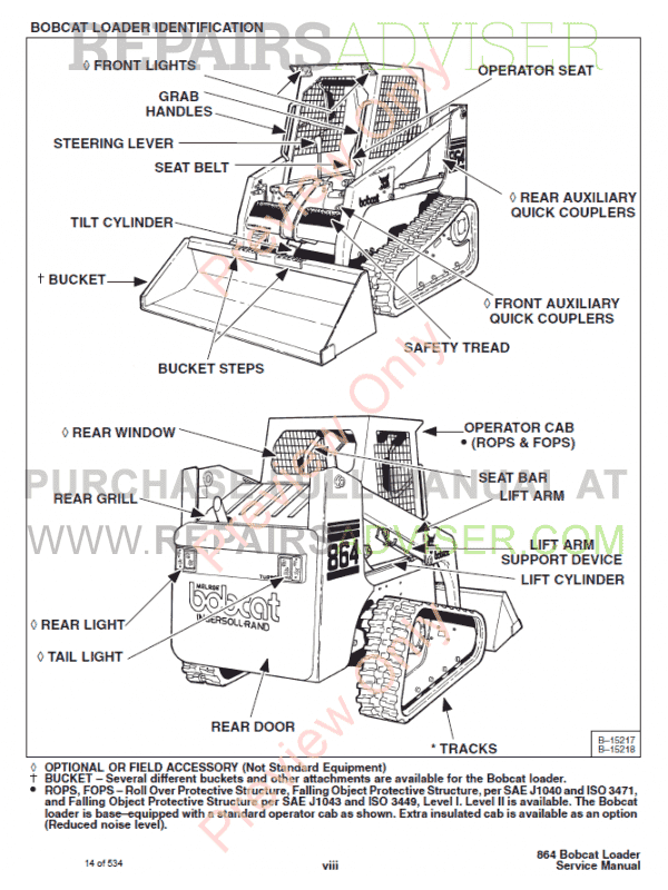 Bobcat 864, 864 High Flow Loader Service Manual PDF Download