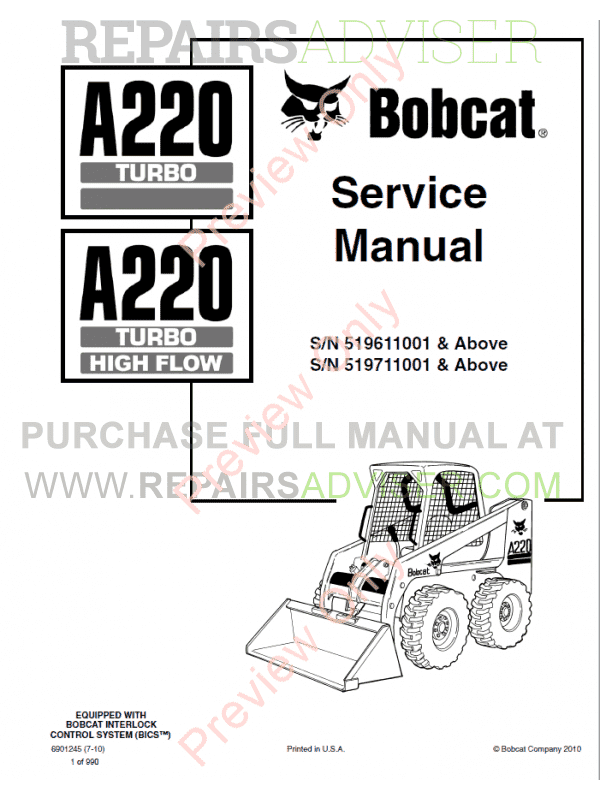 Bobcat A220 Turbo High Flow Loader Service Manual PDF Download
