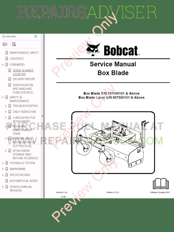 Bobcat Box Blade PDF Service Manual Download