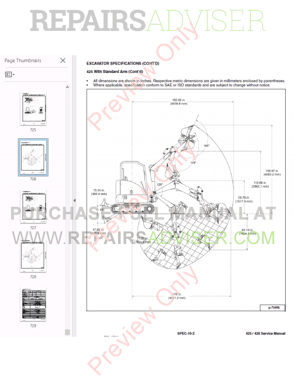 Bobcat Compact Excavator 425, 428 Service Manual PDF Download