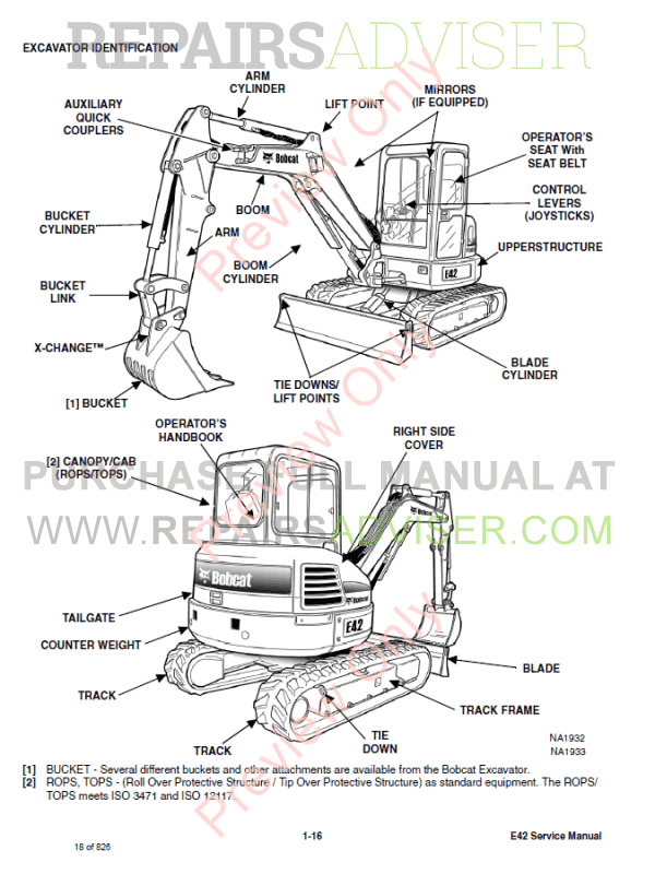 Bobcat Compact Excavator E42 Service Manual PDF Download
