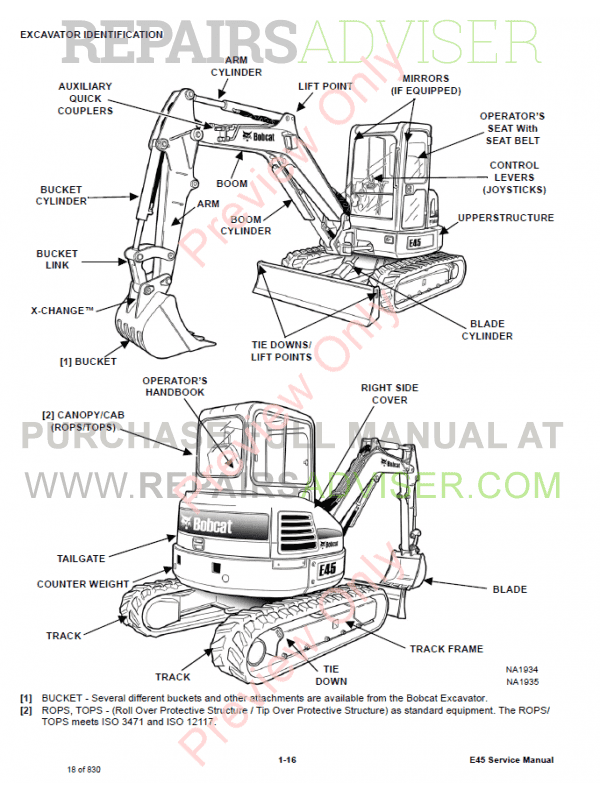 Bobcat Compact Excavator E45 Service Manual PDF Download