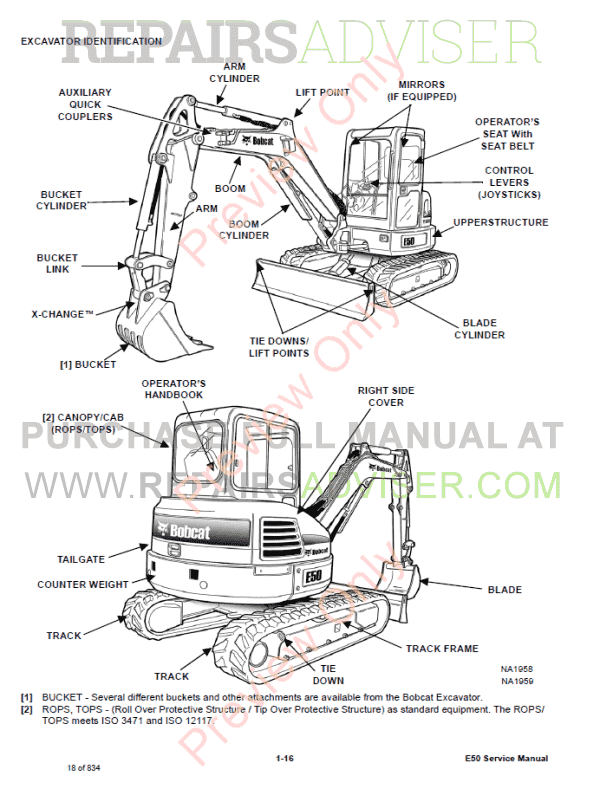 Bobcat Compact Excavator E50 Service Manual PDF Download