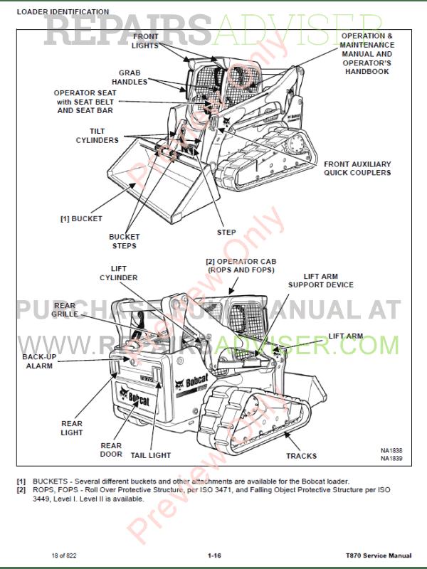 Bobcat Compact Track Loader T870 Service Manual PDF Download
