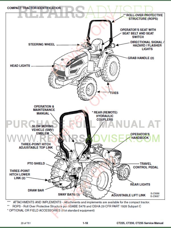 Bobcat Compact Tractors CT225, CT230, CT235 Service Manual