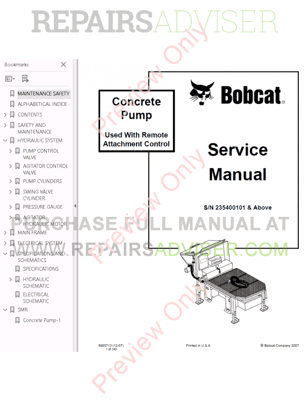 Bobcat Concrete Pump PDF Service Manual Download