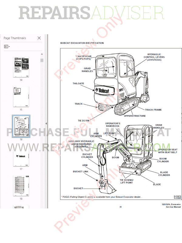 Bobcat Excavator 320, 320L Service Manual PDF Download